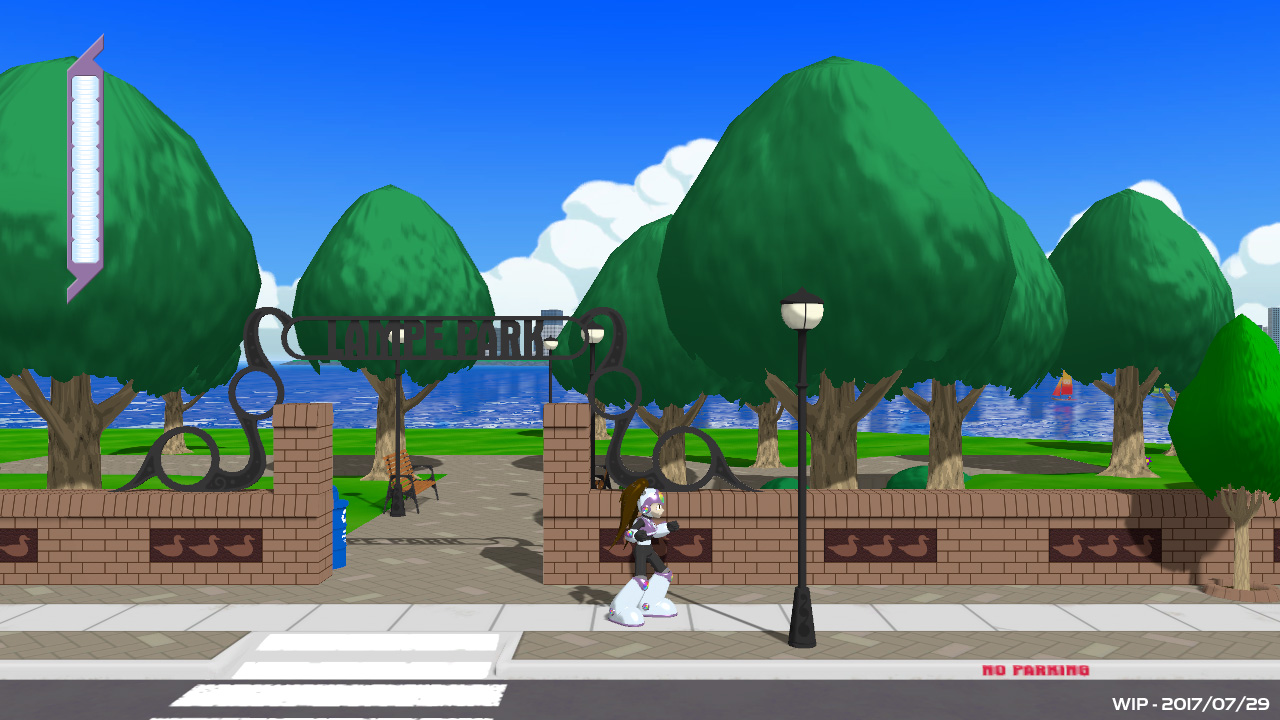 Prism Queen WIP Screenshot, Standing on a Sidewalk Near a Park Entrance