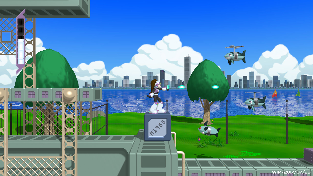 Prism Queen WIP Screenshot, Fighting Shark Robots with Helicopter Propellers